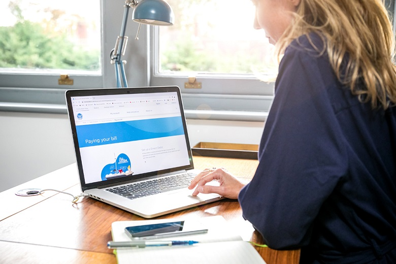 Woman in blue jumper looks at laptop screen