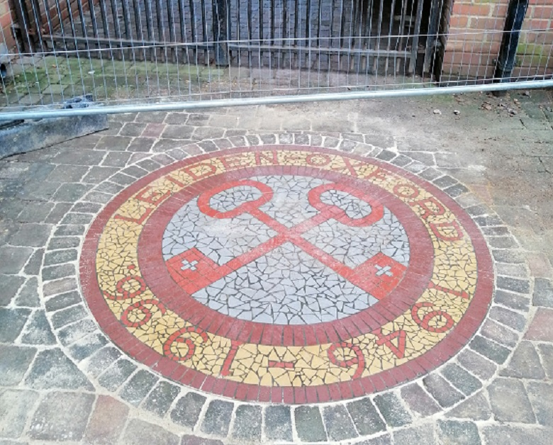The Oxford mosaic after the leak under it had been repaired